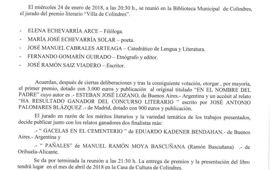 FALLO DEL XX CERTAMEN LITERARIO DE RELATO BREVE