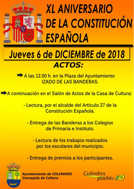 XL ANIVERSARIO DE LA CONSTITUCIÓN ESPAÑOLA – Jueves 6 de Diciembre de 2018