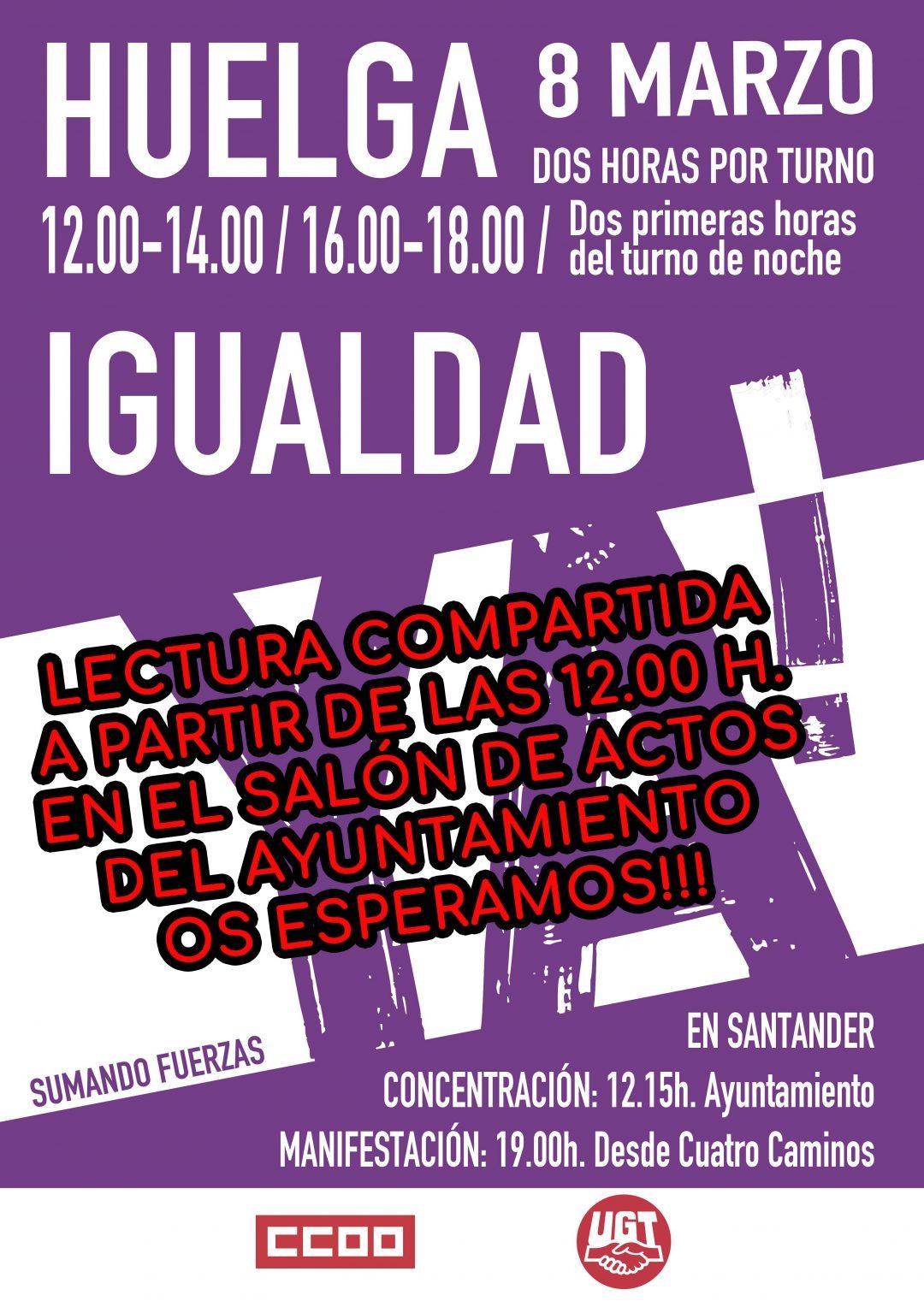DÍA INTERNACIONAL DE LA MUJER – A PARTIR DE LAS 12 H. LECTURA COMPARTIDA EN EL SALÓN DE PLENOS