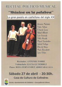"""RECITAL POÉTICO MUSICAL """"MÚSICA EN LA PALABRA"""" @ Salón de Actos, Casa de Cultura Colindres"""