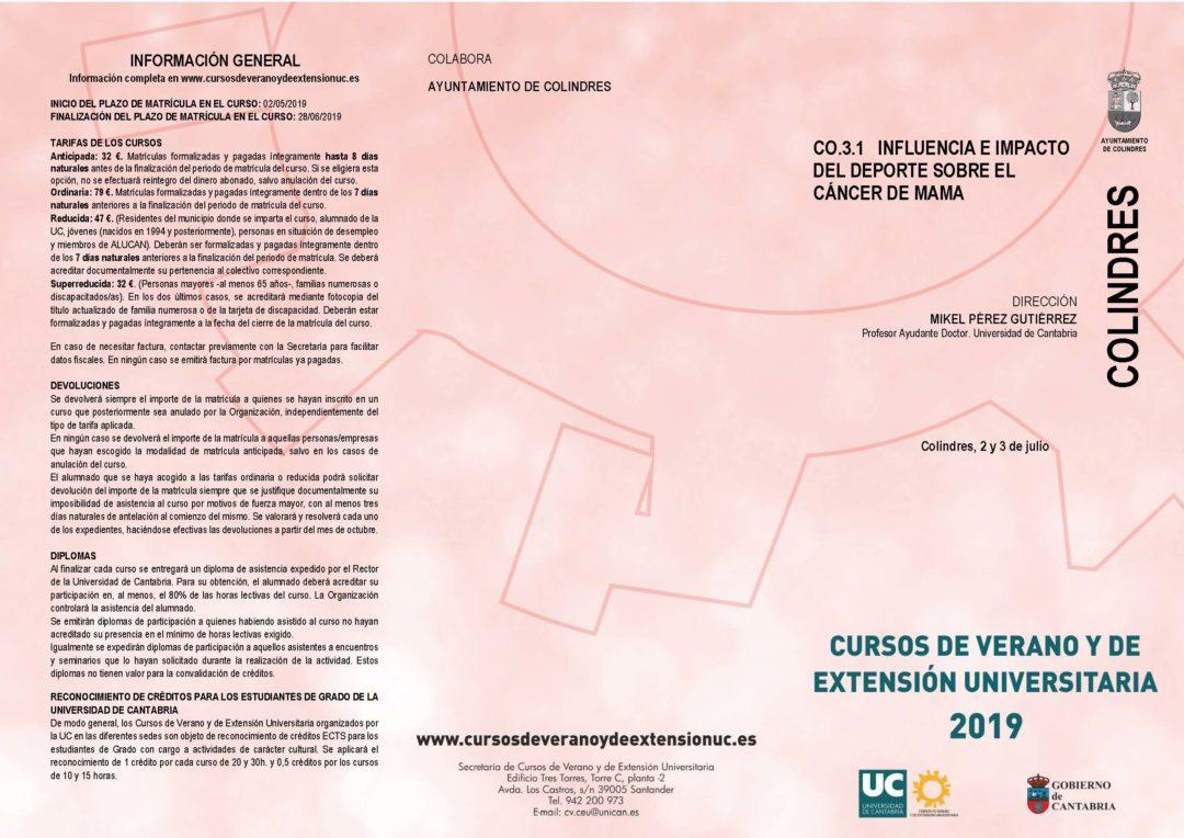 CO.3.1 INFLUENCIA E IMPACTO DEL DEPORTE SOBRE EL CÁNCER DE MAMA – CURSO DE LA UNIVERSIDAD DE CANTABRIA
