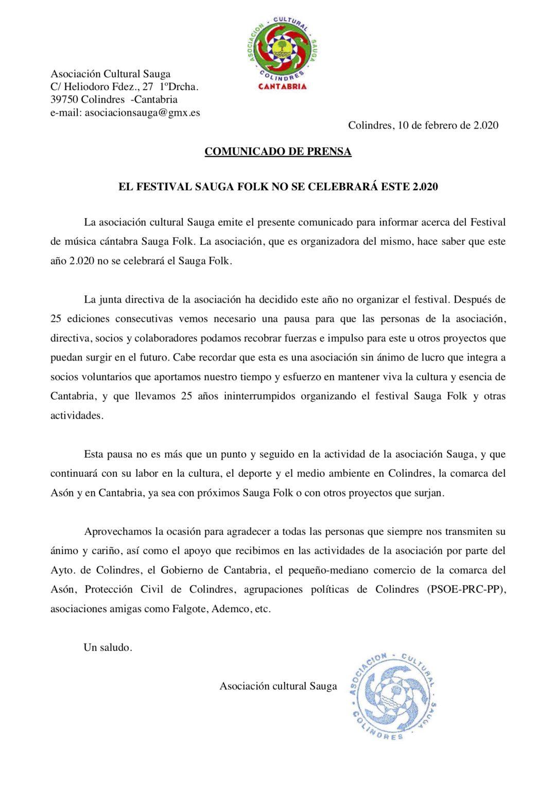 EL AYUNTAMIENTO DE COLINDRES MUESTRA SU APOYO Y AGRADECIMIENTO A SAUGA