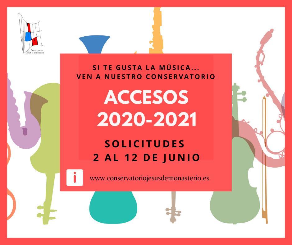 """CONSERVATORIO """"JESÚS DEL MONASTERIO"""" CALENDARIO ACCESO ENSEÑANZAS ELEMENTALES Y PROFESIONALES DE MÚSICA CURSO 2020/2021"""